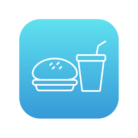 junky: Fast food meal line icon for web, mobile and infographics. Vector white icon on the blue gradient square with rounded corners isolated on white background.