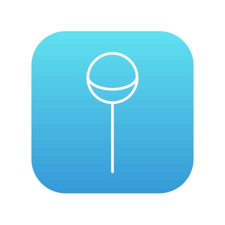 sucking: Round lollipop line icon for web, mobile and infographics. Vector white icon on the blue gradient square with rounded corners isolated on white background. Illustration