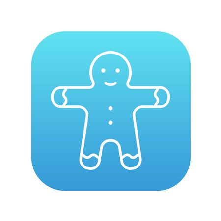 Gingerbread man line icon for web, mobile and infographics. Vector white icon on the blue gradient square with rounded corners isolated on white background.