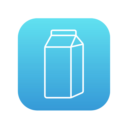 packaged: Packaged dairy product line icon for web, mobile and infographics. Vector white icon on the blue gradient square with rounded corners isolated on white background.