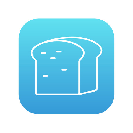 wholemeal: Half of bread line icon for web, mobile and infographics. Vector white icon on the blue gradient square with rounded corners isolated on white background. Illustration