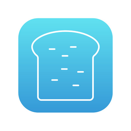 wholemeal: Single slice of bread line icon for web, mobile and infographics. Vector white icon on the blue gradient square with rounded corners isolated on white background.