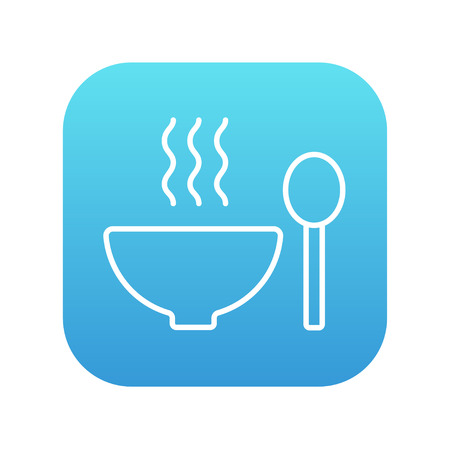 broth: Bowl of hot soup with spoon line icon for web, mobile and infographics. Vector white icon on the blue gradient square with rounded corners isolated on white background.