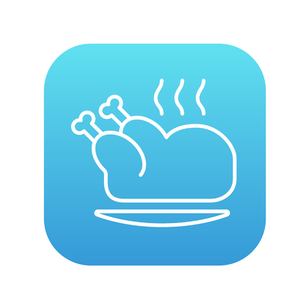 Baked whole chicken line icon for web, mobile and infographics. Vector white icon on the blue gradient square with rounded corners isolated on white background.