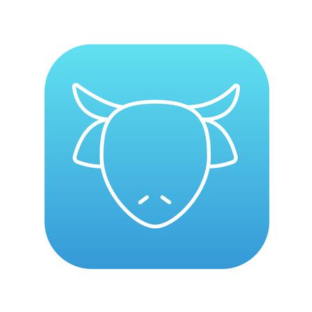 牛の頭は、web、モバイルのアイコンとインフォ グラフィックをラインします。白い背景に分離された角の丸い青いグラデーションの四角形に白のア  イラスト・ベクター素材