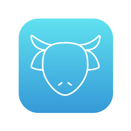Cow head line icon for web, mobile and infographics. Vector white icon on the blue gradient square with rounded corners isolated on white background.