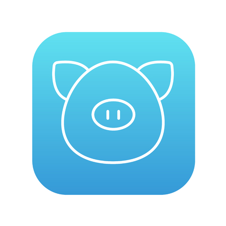 pigling: Pig head line icon for web, mobile and infographics. Vector white icon on the blue gradient square with rounded corners isolated on white background.