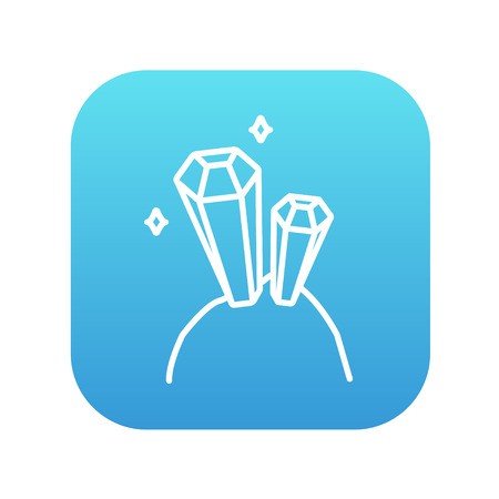 crystallization: Gemstones line icon for web, mobile and infographics. Vector white icon on the blue gradient square with rounded corners isolated on white background. Illustration