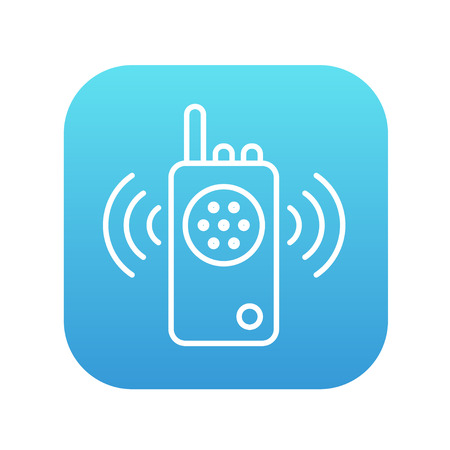 transmit: Radio set line icon for web, mobile and infographics. Vector white icon on the blue gradient square with rounded corners isolated on white background.