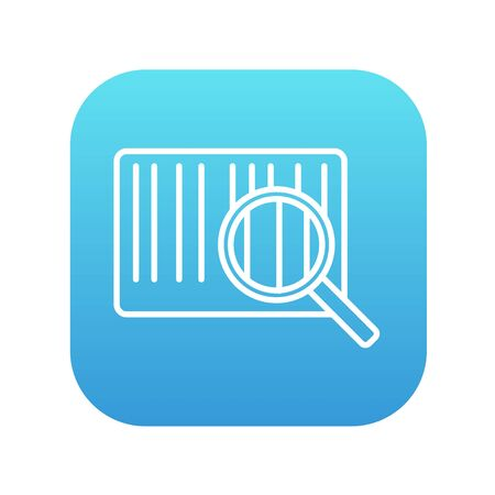 Magnifying glass and barcode line icon for web, mobile and infographics. Vector white icon on the blue gradient square with rounded corners isolated on white background.