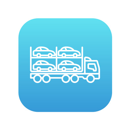 car carrier: Car carrier line icon for web, mobile and infographics. Vector white icon on the blue gradient square with rounded corners isolated on white background.