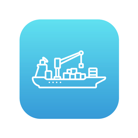Cargo container ship line icon for web, mobile and infographics. Vector white icon on the blue gradient square with rounded corners isolated on white background.