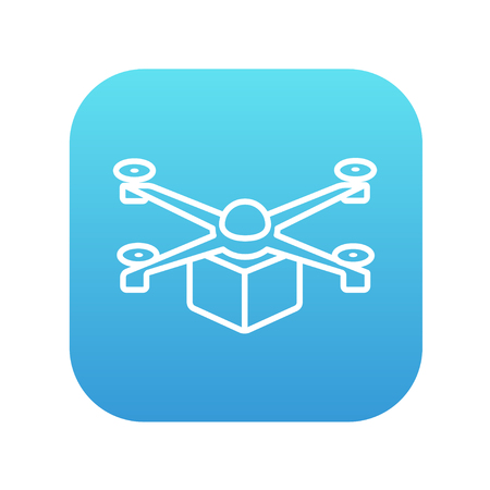 Drone delivering a package line icon for web, mobile and infographics. Vector white icon on the blue gradient square with rounded corners isolated on white background. Çizim