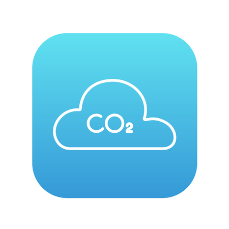greenhouse gas: CO2 sign in cloud line icon for web, mobile and infographics. Vector white icon on the blue gradient square with rounded corners isolated on white background. Illustration