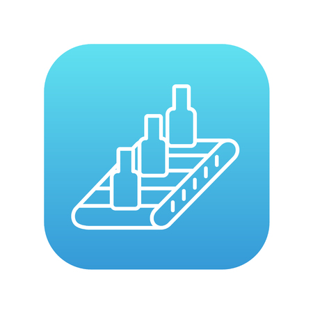 conveyor system: Bottles on conveyor belt system line icon for web, mobile and infographics. Vector white icon on the blue gradient square with rounded corners isolated on white background. Illustration