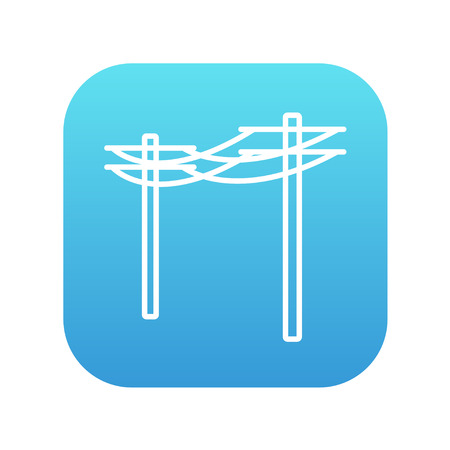 lighting column: High voltage power lines line icon for web, mobile and infographics. Vector white icon on the blue gradient square with rounded corners isolated on white background.