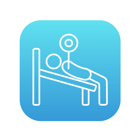 Man lying on bench and lifting barbell line icon for web, mobile and infographics. Vector white icon on the blue gradient square with rounded corners isolated on white background.