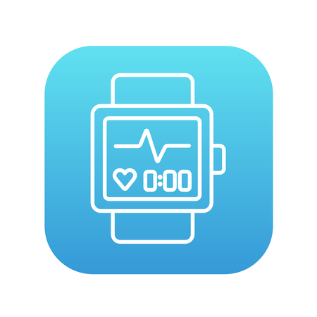 Smartwatch line icon for web, mobile and infographics. Vector white icon on the blue gradient square with rounded corners isolated on white background.