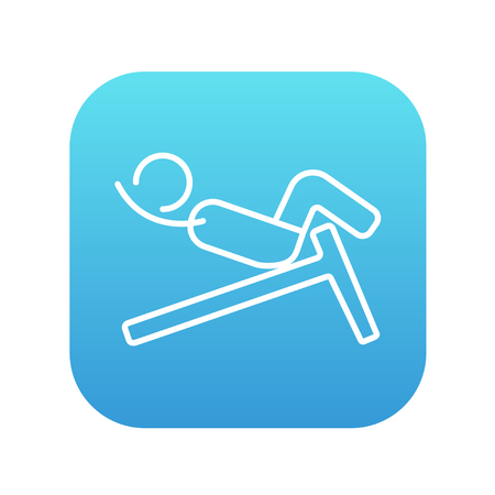 crunches: Man doing crunches on incline bench line icon for web, mobile and infographics. Vector white icon on the blue gradient square with rounded corners isolated on white background.