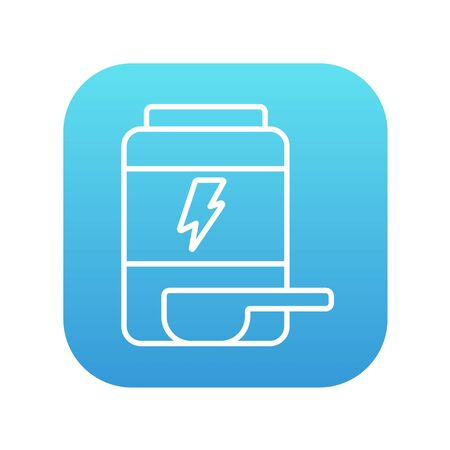supplementation: Sport nutrition container line icon for web, mobile and infographics. Vector white icon on the blue gradient square with rounded corners isolated on white background.