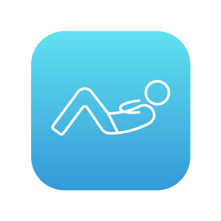 crunches: Man doing abdominal crunches line icon for web, mobile and infographics. Vector white icon on the blue gradient square with rounded corners isolated on white background.