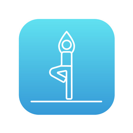 man meditating: Man standing in yoga tree pose line icon for web, mobile and infographics. Vector white icon on the blue gradient square with rounded corners isolated on white background.