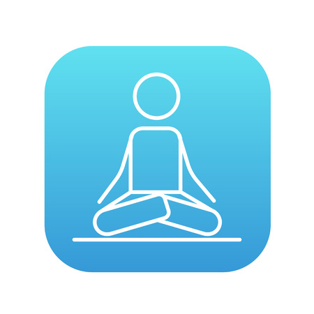elasticity: A man meditating in lotus pose line icon for web, mobile and infographics. Vector white icon on the blue gradient square with rounded corners isolated on white background. Illustration
