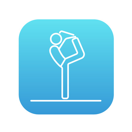 Homme pratiquant l'icône de ligne d'yoga pour le web, mobile et infographie. Icône de vecteur blanc sur le carré dégradé bleu avec coins arrondis isolé sur fond blanc. Banque d'images - 49694273