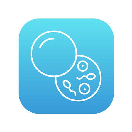 spermatozoa: Donor sperm line icon for web, mobile and infographics. Vector white icon on the blue gradient square with rounded corners isolated on white background.