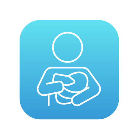 woman drinking milk: Woman nursing the baby line icon for web, mobile and infographics. Vector white icon on the blue gradient square with rounded corners isolated on white background.