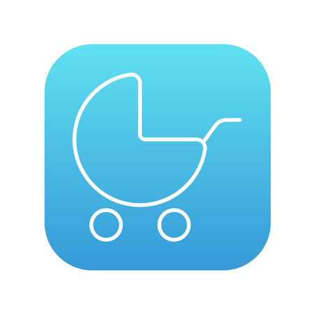 Baby stroller line icon for web, mobile and infographics. Vector white icon on the blue gradient square with rounded corners isolated on white background.