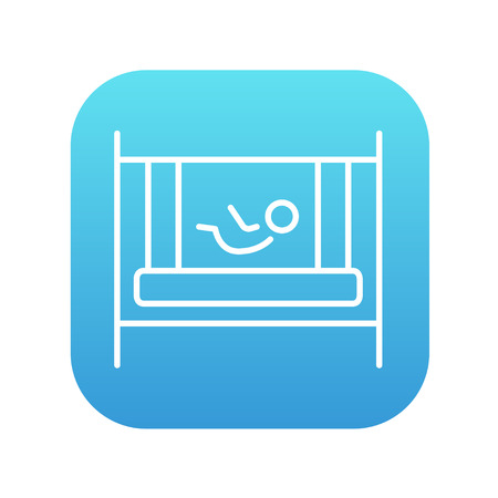 Baby laying in the crib line icon for web, mobile and infographics. Vector white icon on the blue gradient square with rounded corners isolated on white background. Illustration