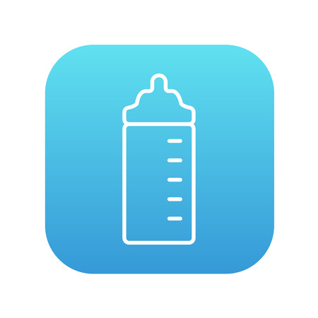 nursing bottle: Feeding bottle line icon for web, mobile and infographics. Vector white icon on the blue gradient square with rounded corners isolated on white background.
