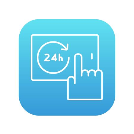 touchscreen: Finger touching 24 hours service button on a touchscreen line icon for web, mobile and infographics. Vector white icon on the blue gradient square with rounded corners isolated on white background. Illustration