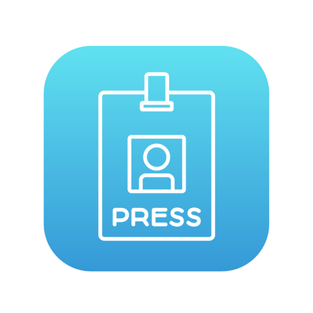 neckband: Press pass ID card line icon for web, mobile and infographics. Vector white icon on the blue gradient square with rounded corners isolated on white background. Illustration
