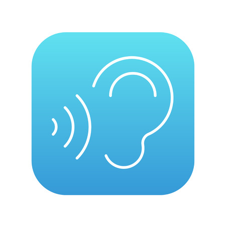 earing: Ear and sound waves line icon for web, mobile and infographics. Vector white icon on the blue gradient square with rounded corners isolated on white background.