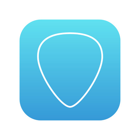 guitar pick: Guitar pick line icon for web, mobile and infographics. Vector white icon on the blue gradient square with rounded corners isolated on white background. Illustration