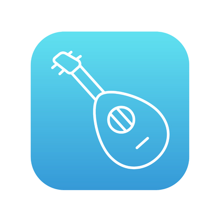 mandolin: Mandolin line icon for web, mobile and infographics. Vector white icon on the blue gradient square with rounded corners isolated on white background. Illustration