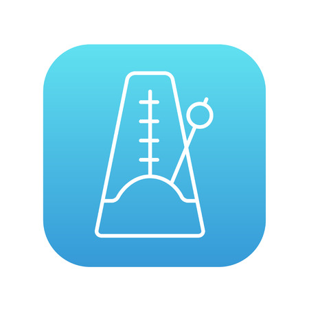 metronome: Metronome line icon for web, mobile and infographics. Vector white icon on the blue gradient square with rounded corners isolated on white background. Illustration