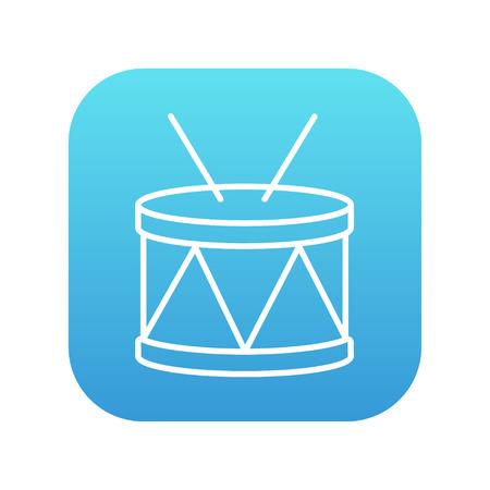 Web、モバイル、インフォ グラフィックの棒ライン アイコンとドラムします。白い背景に分離された角の丸い青いグラデーションの四角形に白のアイ