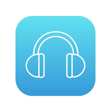 accessory: Headphone line icon for web, mobile and infographics. Vector white icon on the blue gradient square with rounded corners isolated on white background.