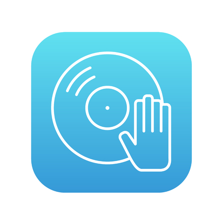 remix: Disc with dj hand line icon for web, mobile and infographics. Vector white icon on the blue gradient square with rounded corners isolated on white background.