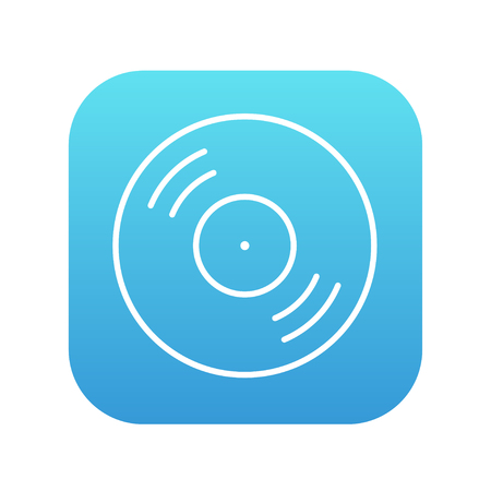 soundtrack: Disc line icon for web, mobile and infographics. Vector white icon on the blue gradient square with rounded corners isolated on white background.