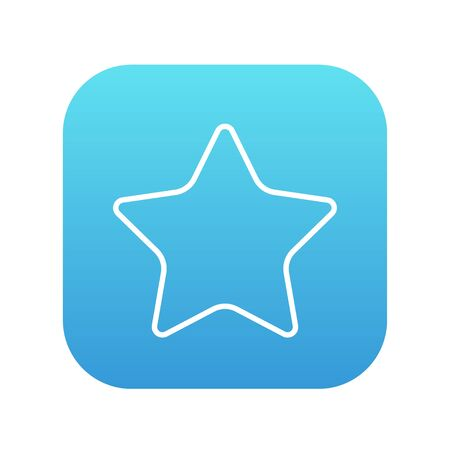 Rating star line icon for web, mobile and infographics. Vector white icon on the blue gradient square with rounded corners isolated on white background.