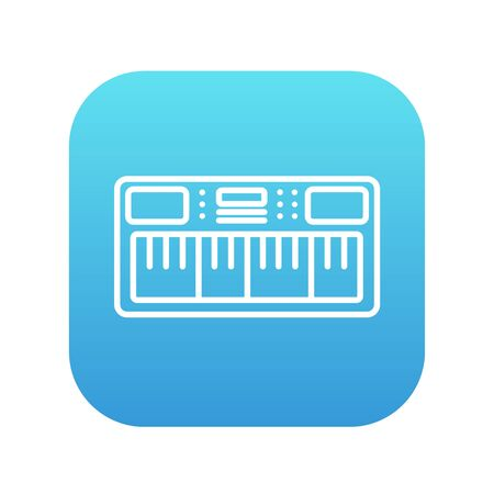 synthesizer: Synthesizer line icon for web, mobile and infographics. Vector white icon on the blue gradient square with rounded corners isolated on white background.