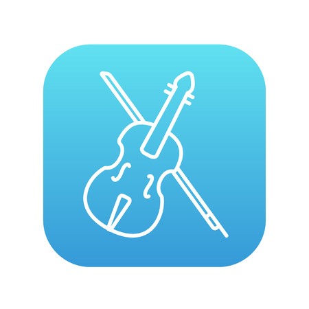 fiddle bow: Violin with bow line icon for web, mobile and infographics. Vector white icon on the blue gradient square with rounded corners isolated on white background. Illustration