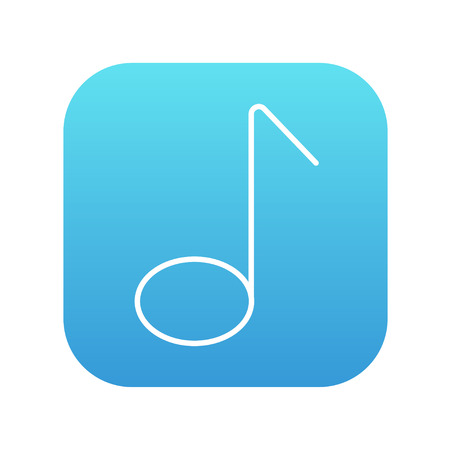 Music note line icon for web, mobile and infographics. Vector white icon on the blue gradient square with rounded corners isolated on white background. Illustration