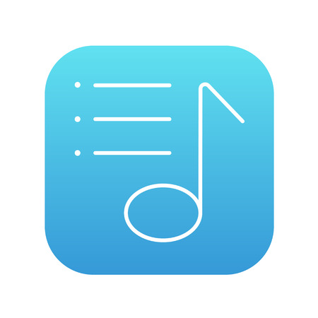 melodies: Musical note line icon for web, mobile and infographics. Vector white icon on the blue gradient square with rounded corners isolated on white background. Illustration