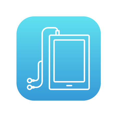 Tablet with headphones line icon for web, mobile and infographics. Vector white icon on the blue gradient square with rounded corners isolated on white background.