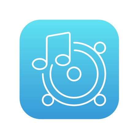sub woofer: Loudspeakers with music note line icon for web, mobile and infographics. Vector white icon on the blue gradient square with rounded corners isolated on white background.